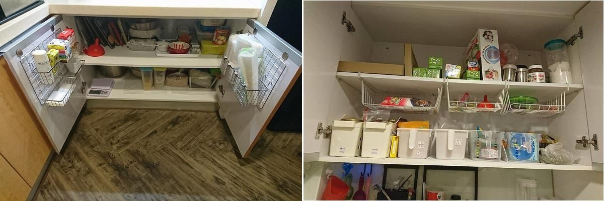 沒有收納五金的傳統上下櫃怎麼整理?達人利用鐵架、文件收納夾、與塑膠籃完整容易因為櫃體深度、高度浪費的空間。看完整廚房收納 >> 點此看文章
