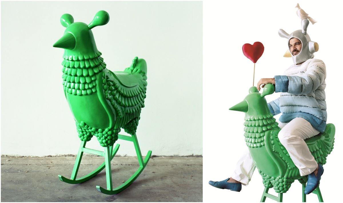《綠公雞 GREEN CHICKEN》是 Jaime Hayon於 2006 年創作。2008 年被亞特蘭大藝術博物館收藏。造型華麗,極富現代感與趣味,創作靈感來自夢中的一個角色。圖片提供/瘋設計。