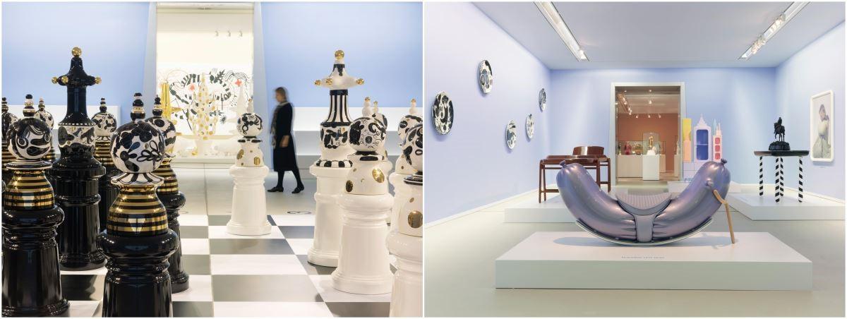 《搖滾熱狗椅 ROCKING HOT DOG》(右)是 Jaime Hayon 與荷蘭攝影師 Nienke Klunder 共同創作,利用多種材質打造搶眼不失優雅的亮紫色及律動感十足的熱狗形狀搖椅;巨型裝飾藝術《 西洋棋THE TOURNAMENT》(左)是Jaime Hayon在2009年倫敦設計節上發表的作品,近 2 米高的陶瓷棋子都是亞米‧海因親手打造與彩繪。圖片提供/瘋設計。