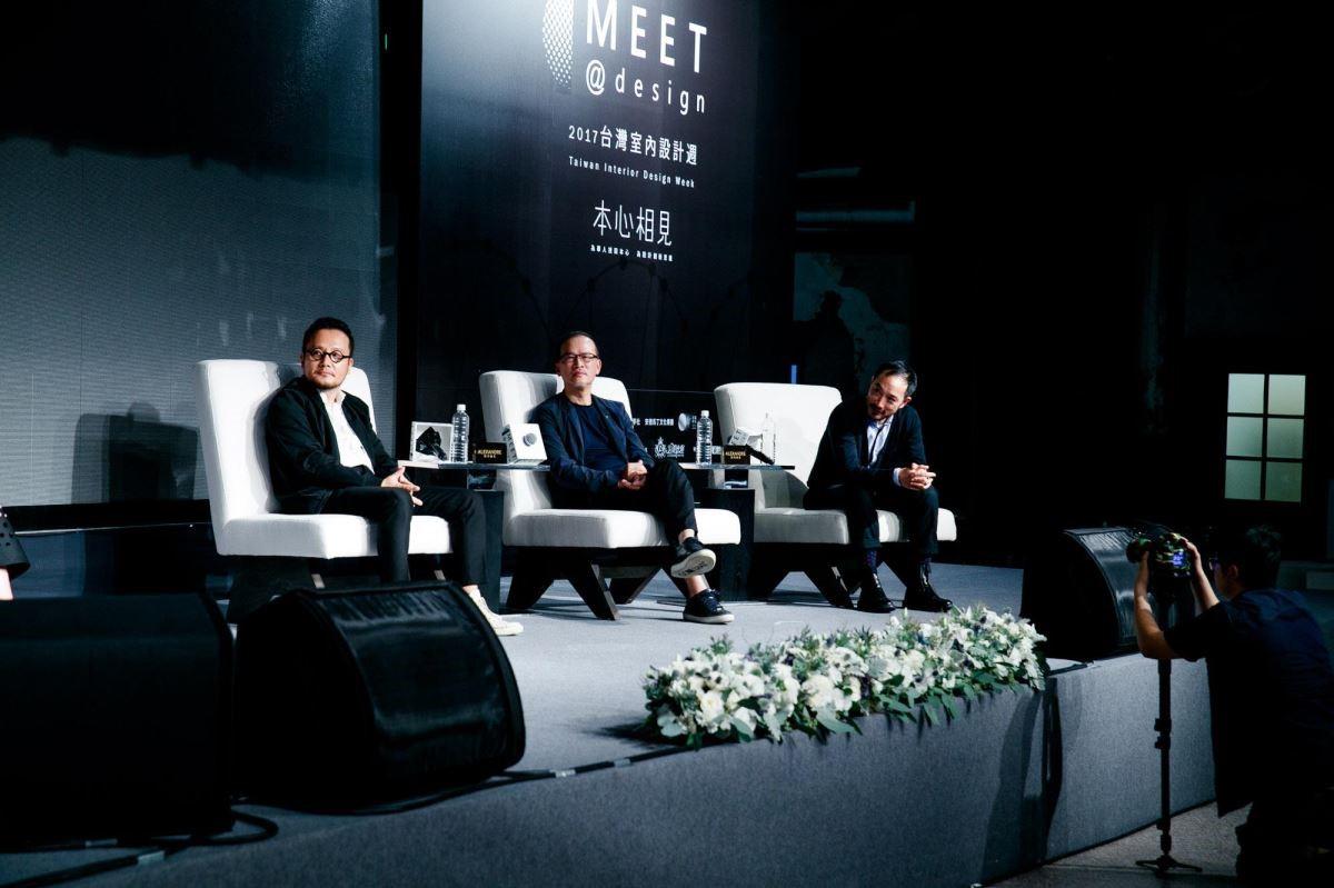 (左起)知名設計師邱德光、內地知名設計師吳濱及花藝大師凌宗湧同台「三人對談沙龍」。