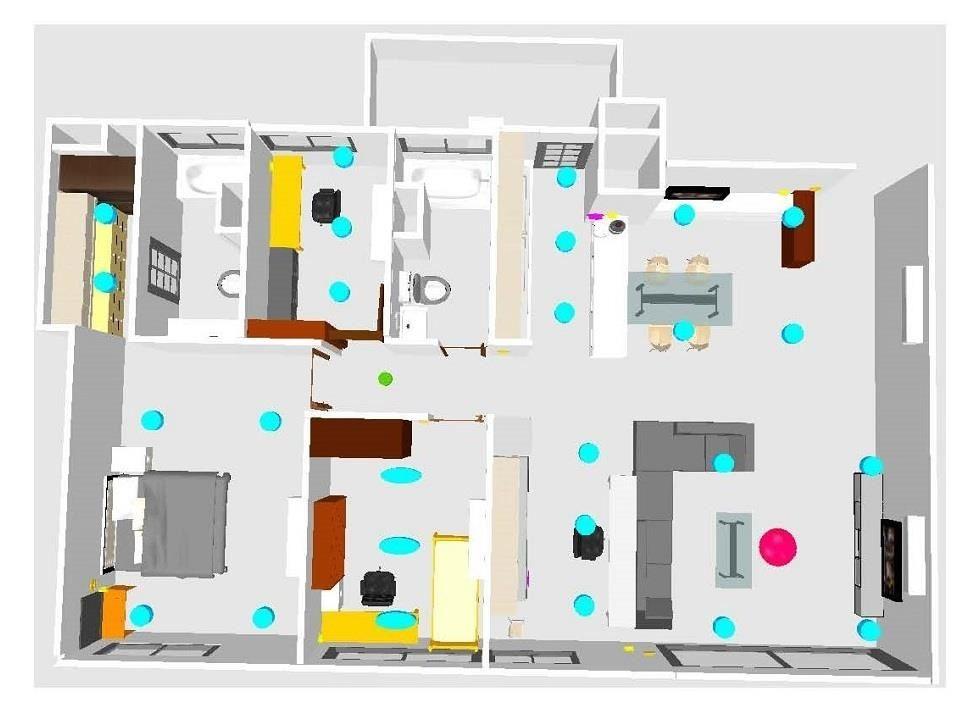 原先的設計希望將電視靠牆,結合餐廳與吧台,接著把電器櫃放在書房隔間牆,並設置獨立的書房空間。