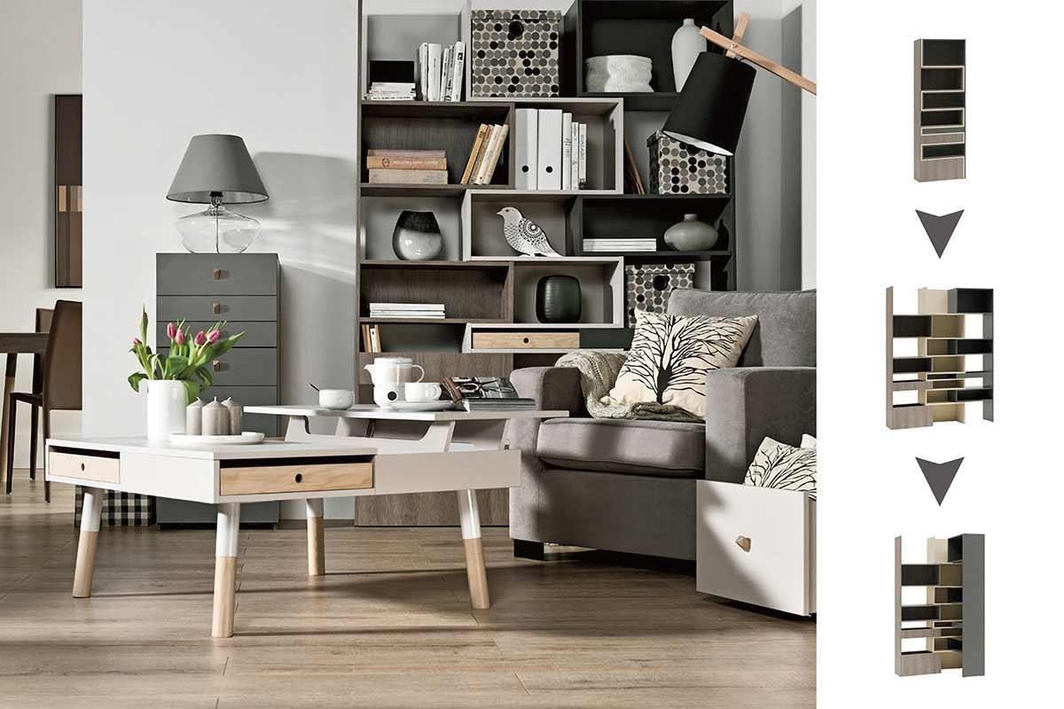 彈性十足是 LORI 系列一大優勢,其中的三色延展櫥櫃,就是設計師利用線條曲折互補的設計轉成立體,讓一座櫃子富有變化與趣味性。