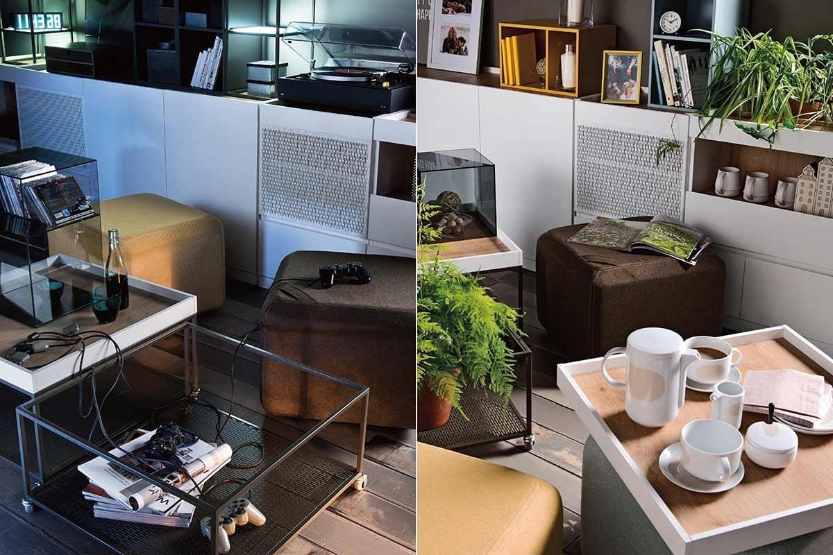 MUTO 系列咖啡桌(茶几)底部,選用深色金屬異材質搭配,加上跳色的桌面盒,細緻設計隨意擺設都有型,而上方桌面盒可取出做為托盤,靈活度極高,移動到餐桌、書桌甚至是床上都方便,隨處享用愜意的午茶時光。