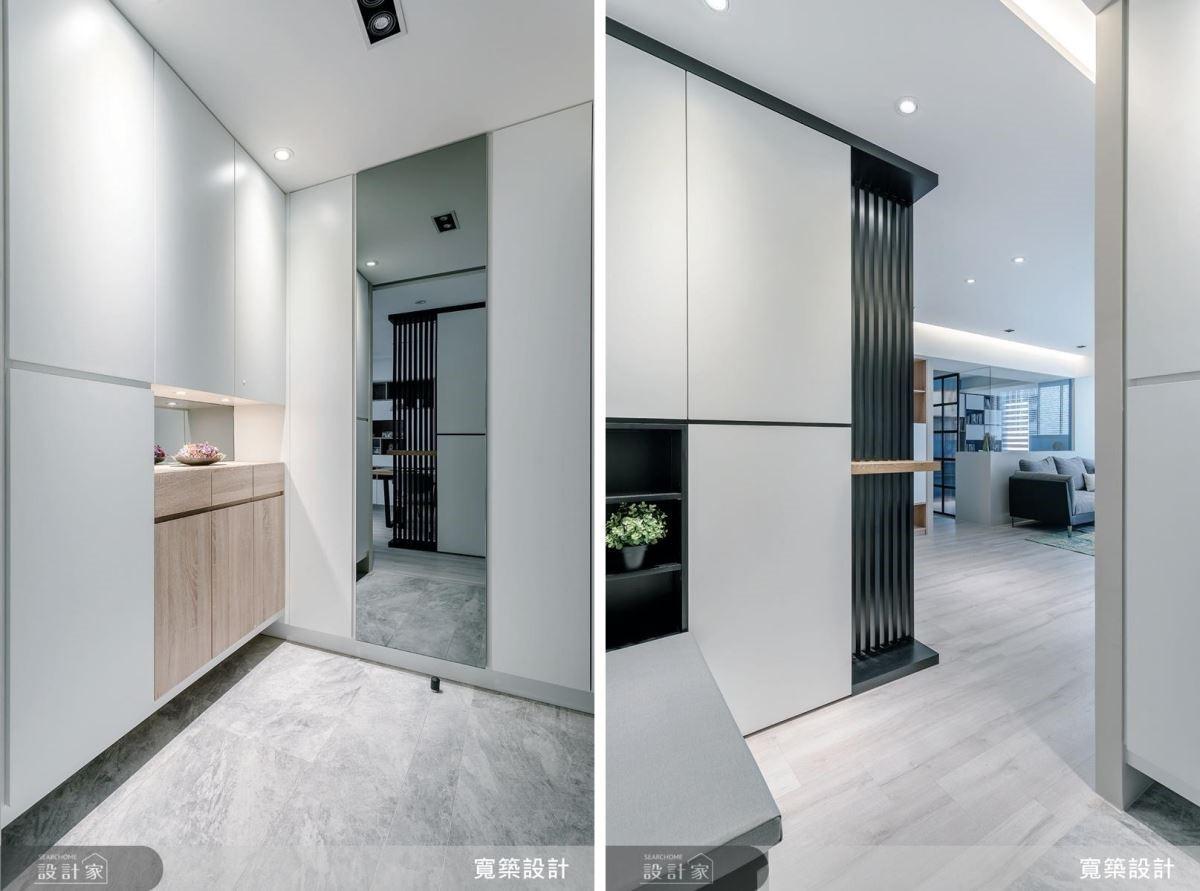 玄關設計呈現鐵件和石材自身純粹的美感,彷彿用最單純的心,迎接每位家人的歸來。