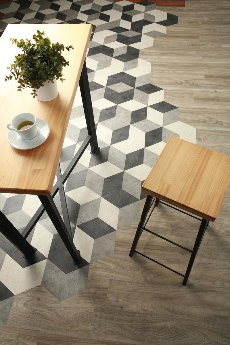 菱型的 10 色地磚,可搭配絕代風華及風華再現系列共 48 款大片木、石紋使用。