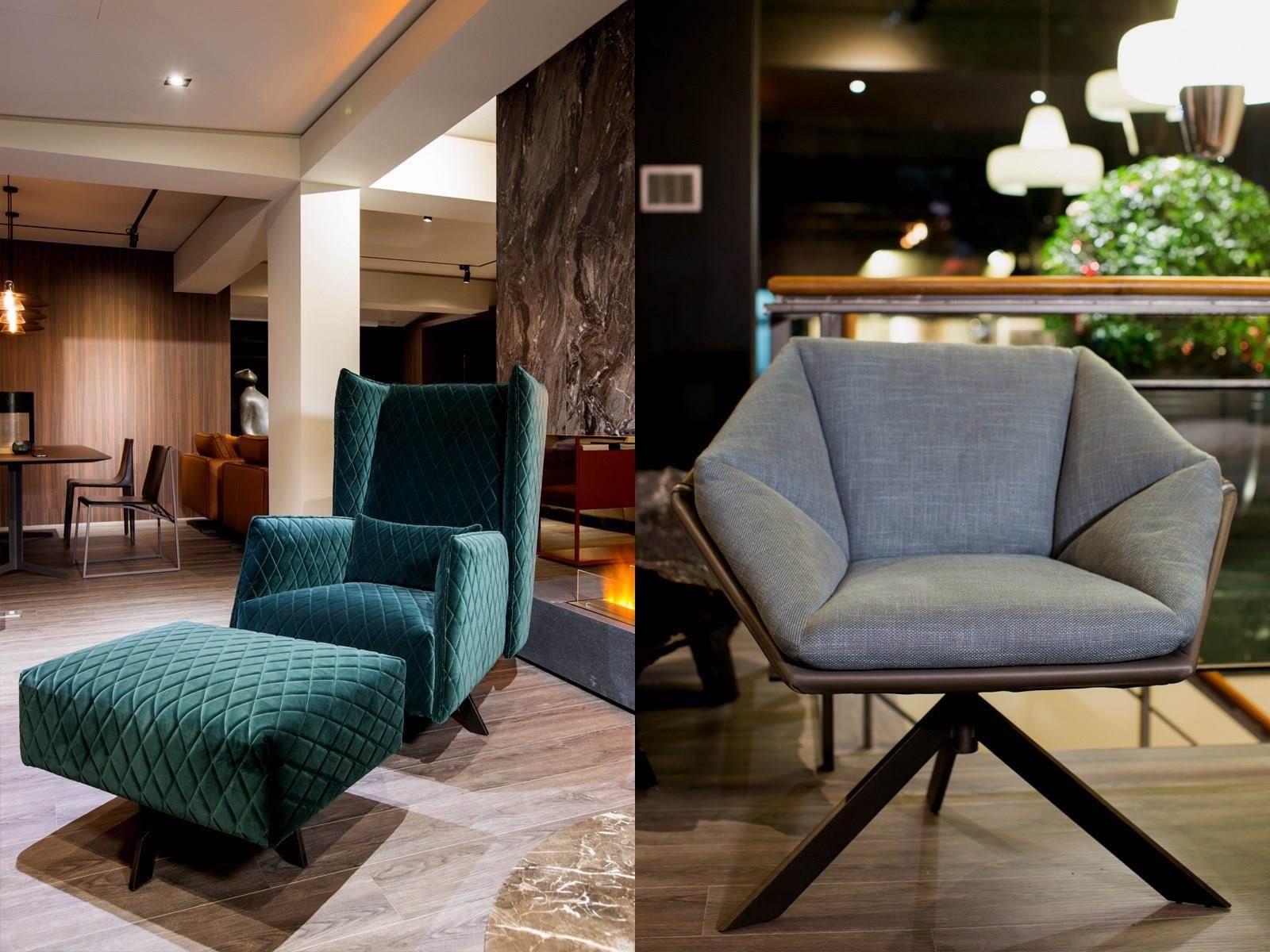 (左)ANN 扶手椅為 Papadatos 深受好評的熱門款式,有著極佳的舒適性;(右) Grace 扶手椅以幾何美感呈現現代都會風情,是款兼具外型與機能性的扶手椅。