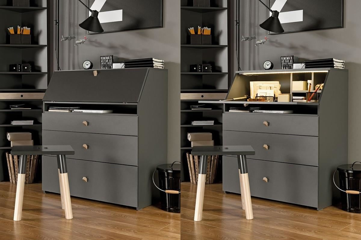 另一款 LORI 的系列單品就更有彈性啦!下掀桌櫃內建氣壓棒輔助,門板開啟十分流暢,也提升桌面的承載量,櫃內附設觸控式開關的LED燈,用來當作化妝櫃、寫字檯都好優雅。