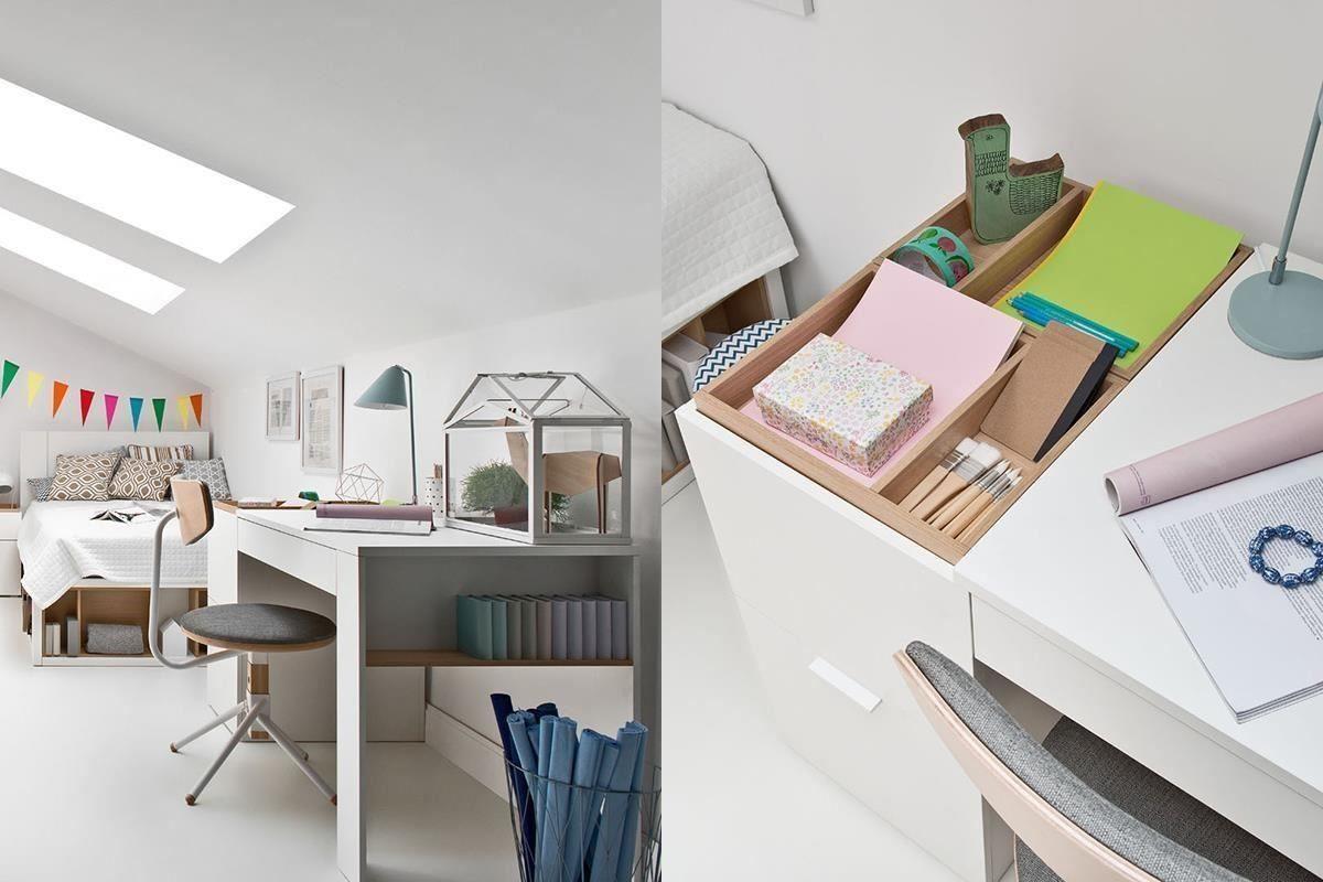 另一款4 YOU 系列的機能書桌檯面,設有2組活動製物盒,除了易於保持桌面整潔,還能翻面使用,加大桌面長度。