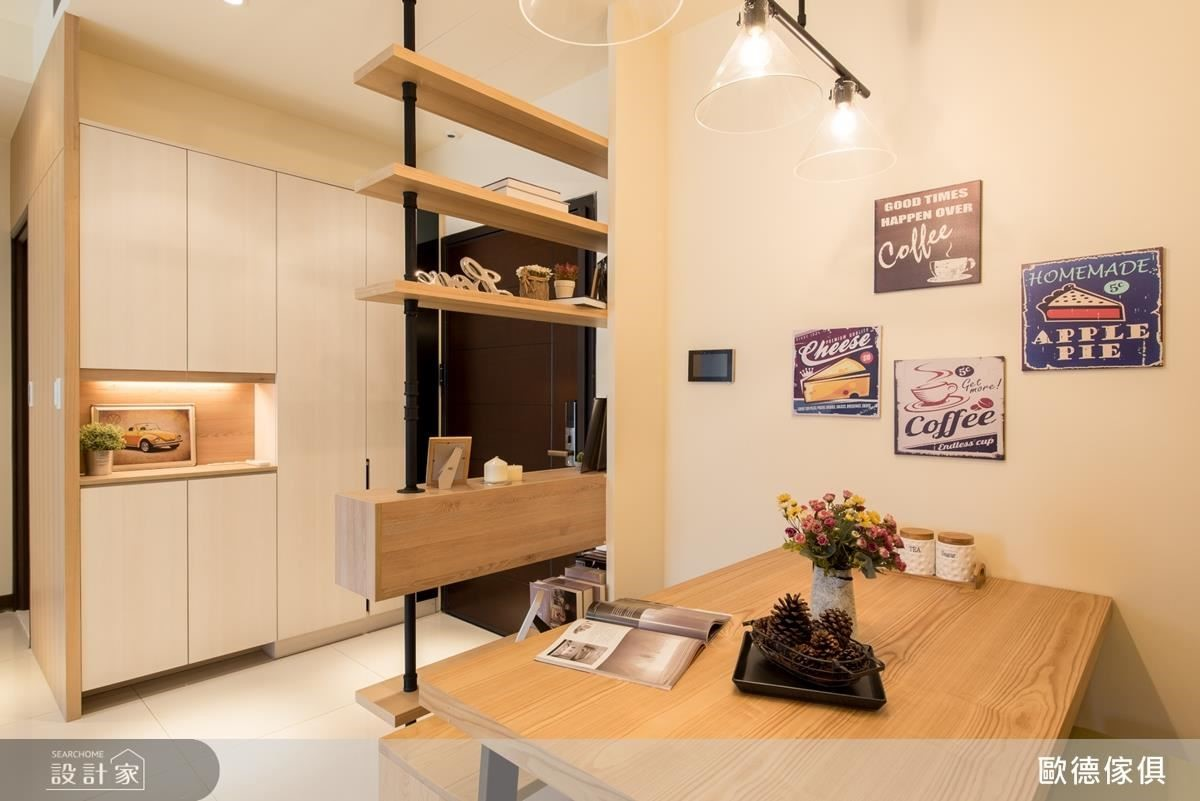 餐桌使用帶鐵件質感的木桌,搭配特別挑選的系統板材椅子,為北歐風挹注溫馨質感。