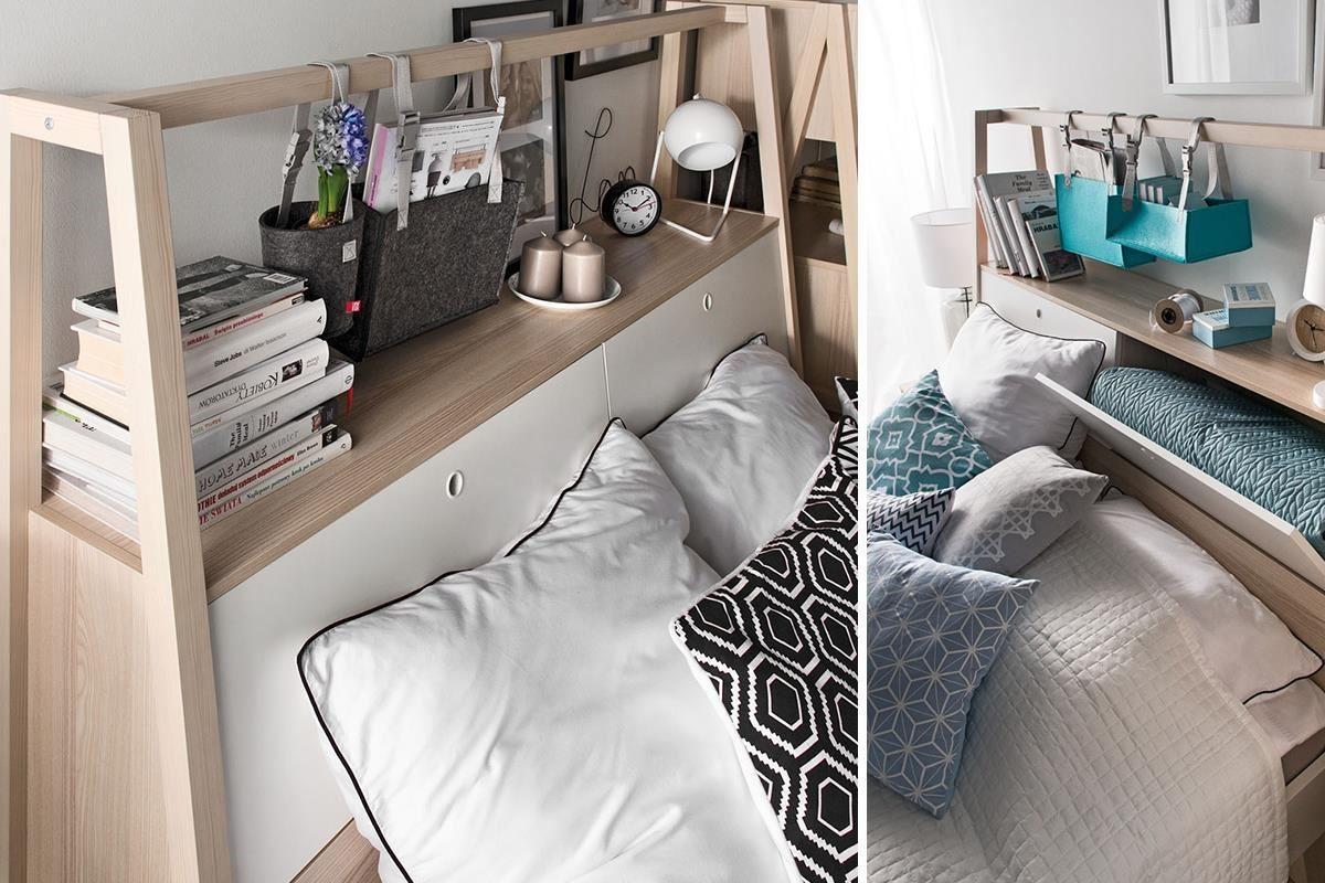 SPOT 系列雙人床組床頭櫃中藏有左右分隔的置物空間,輕鬆分類季節寢具,櫃門更採貼心的下掀與斜面設計,讓坐臥時更加舒適,悠閒享受休憩時光。