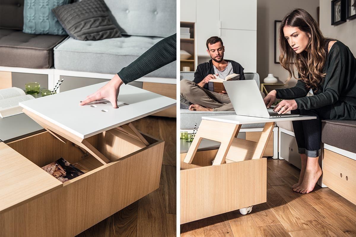 除了純淨的原木質感,VOX 旗下的每個系列都各有特色,例如 CUSTOM 系列咖啡桌(茶几)配有上升式桌板,把手則與桌面板切齊平整好使用,而且桌體下附設四足活動輪,從此移動家具就是這麼輕鬆不費力。