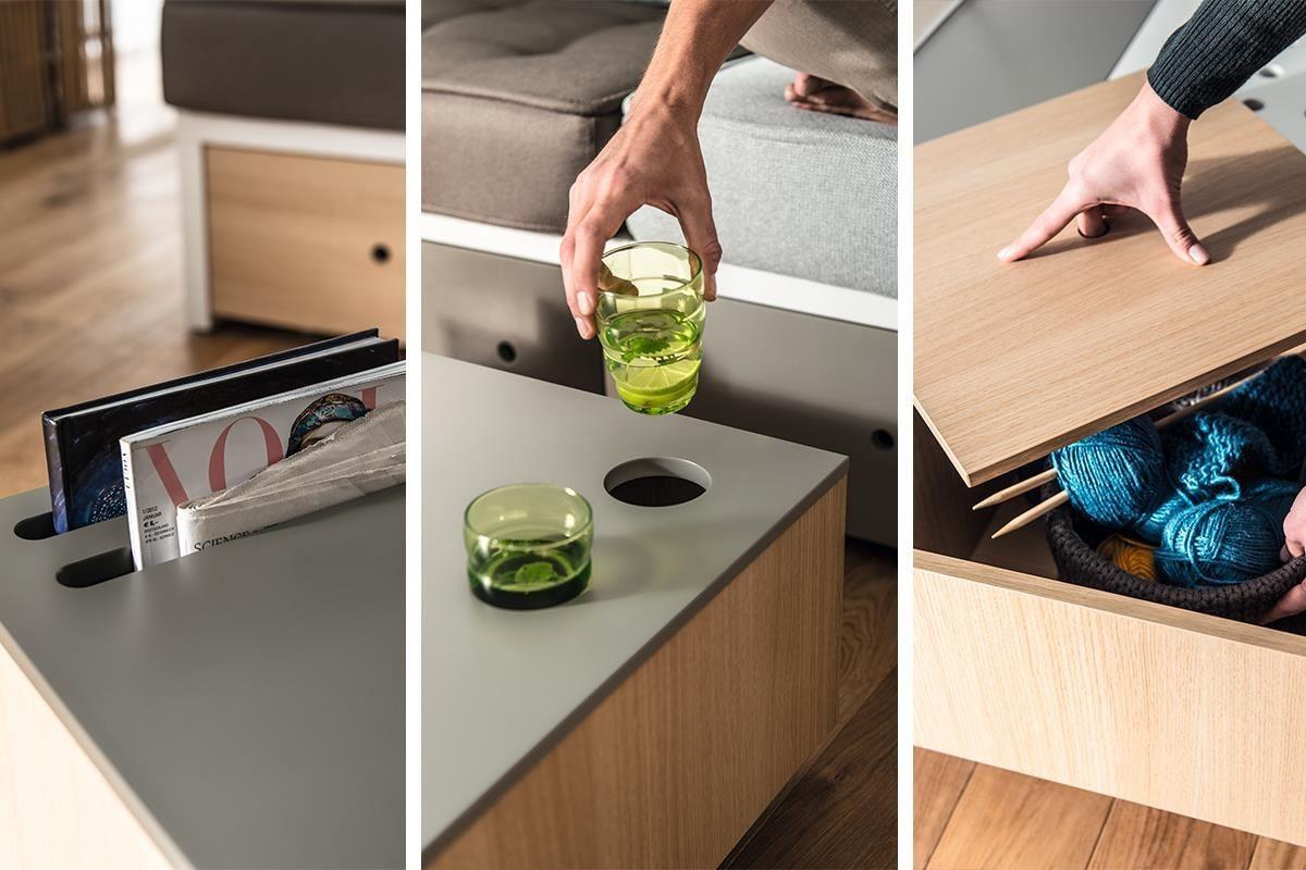 CUSTOM 系列的咖啡桌(茶几)可將桌面劃分四區,每塊桌面都具備機能性,除了上升式桌面外,分別可當作書報架、置杯區與儲物槽來使用。
