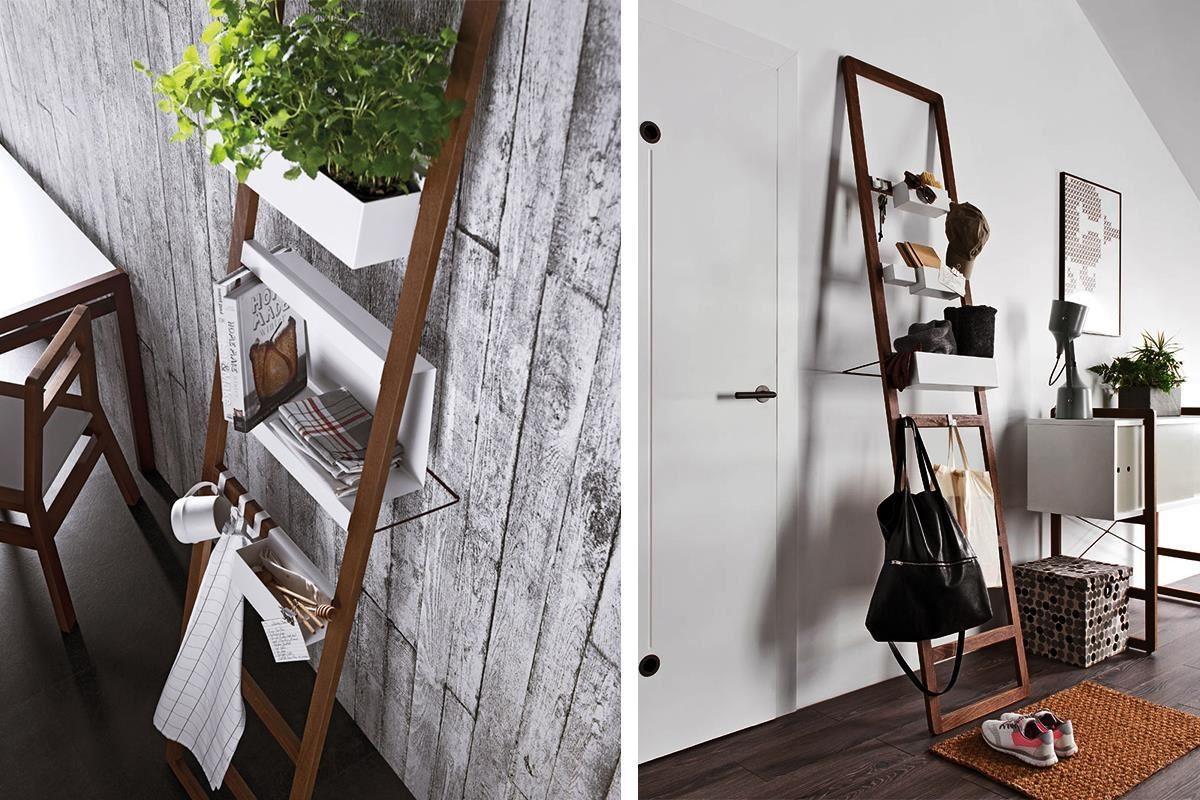 MIO 系列靠牆收納梯,特別適用於玄關處或開放式客餐廳,搭配同系列金屬收納架、收納盒、掛勾等組合,設計感與實用兼具。
