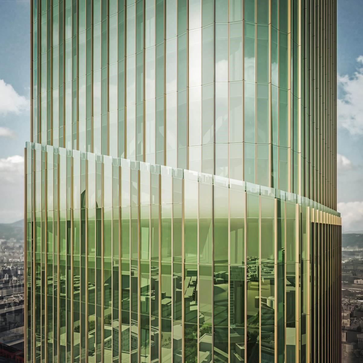 建築體的設計靈感來自綠竹筍,而帶著凹與凸的弧型玻璃讓建築神似希臘神殿的石柱,東西方形象和諧共融。(圖片提供:碩河開發)
