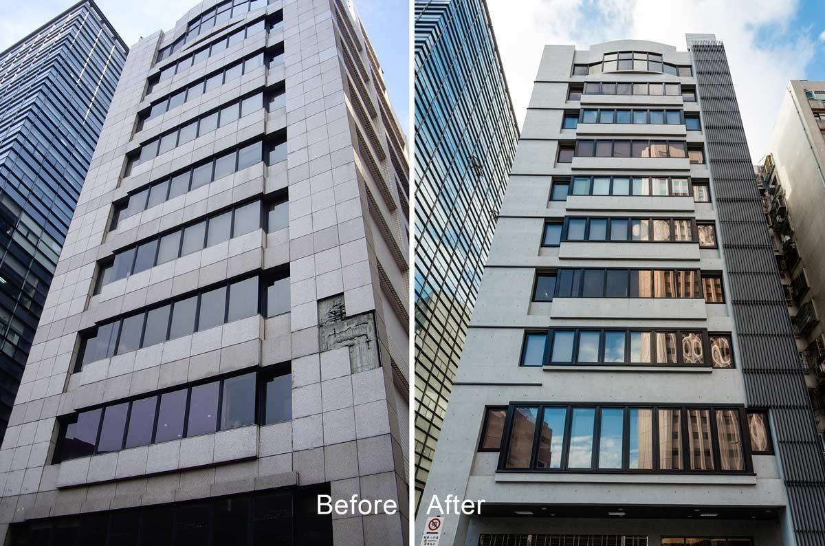 商辦大樓脫落的壁磚絕對是城市裡的一大安全隱患,換上輕量化的外飾材,建築變美也更安全。