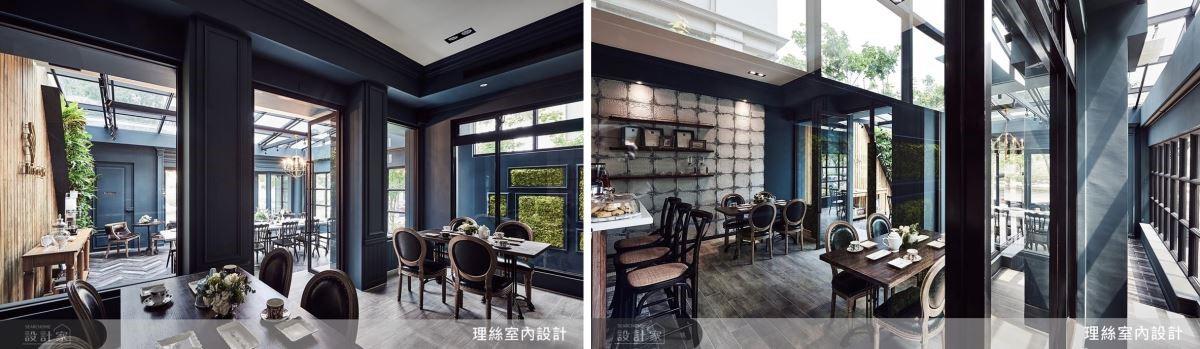 運用窗牆立面及材質層次的堆疊,創造出屋中屋的明亮新奇,更巧妙藉光線中和普魯士藍的沉重,使客人往返點餐都能感受到面面俱到的歐式情懷。