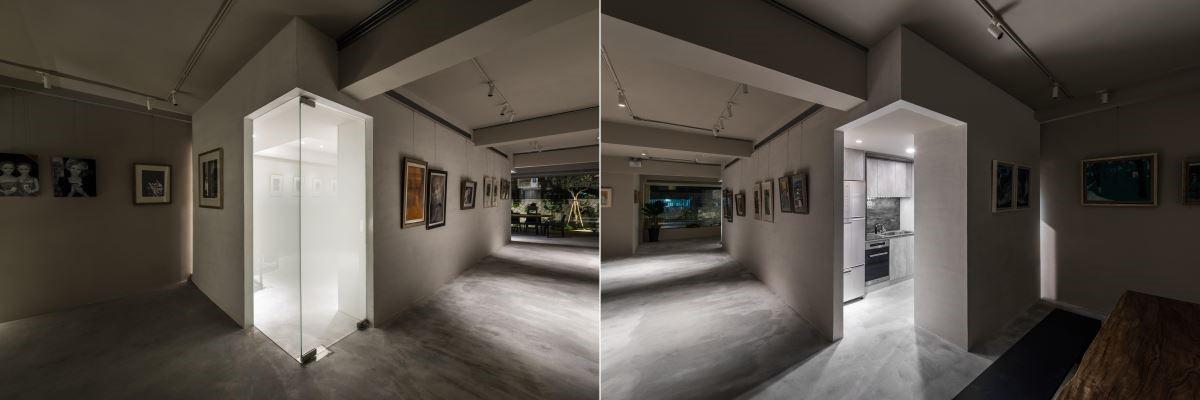 生活空間採霧面玻璃門增加使用機能的私密性,同時藉玻璃的透光性顯現若隱若現的空間感。