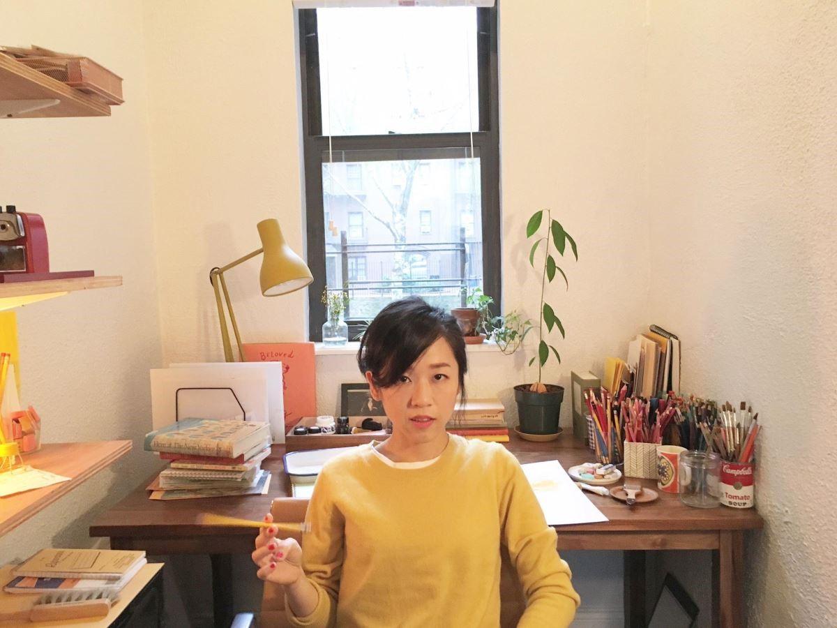 插畫家 Vita Yang(楊謹瑜)在她紐約的工作室。