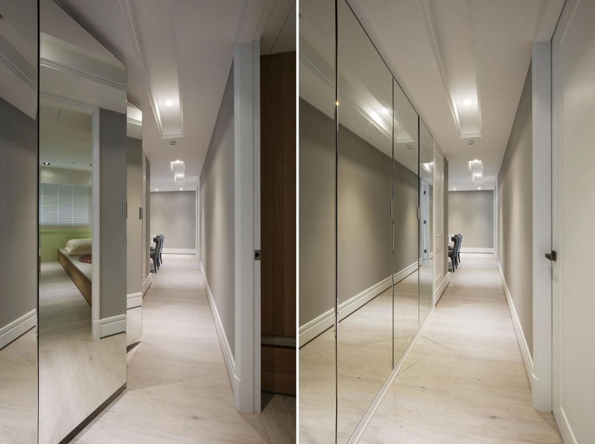 重整廊道零碎格局,以大片鏡面映照寬闊視野,並妥善利用畸零空間規劃角落閱讀區。