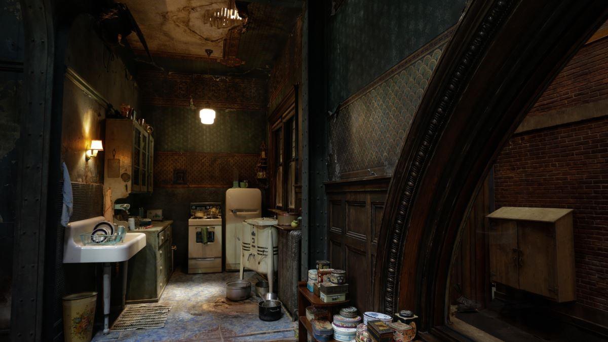 伊莉莎的家中家具大部分以鐵件為主,即便場景換到廚房也很明顯。