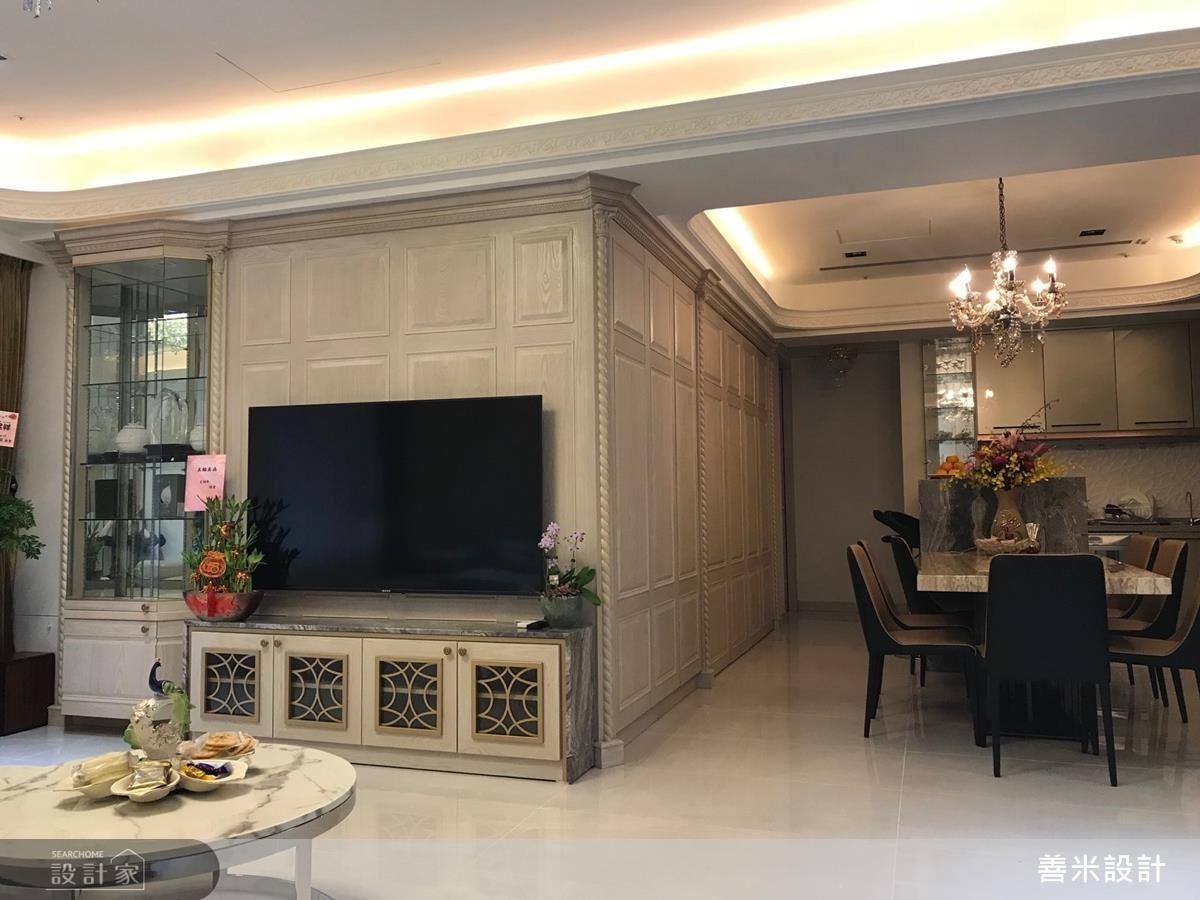 開放設計不僅暢通動線,更串起客、餐廳,使視覺坪數跟著放大。