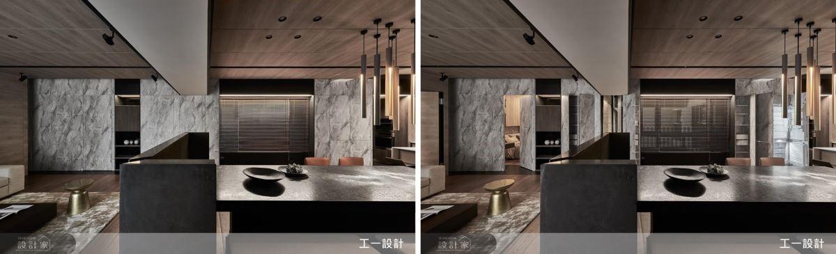 整合壁面質材,搭配隱藏門設計,創造一致性視覺感。