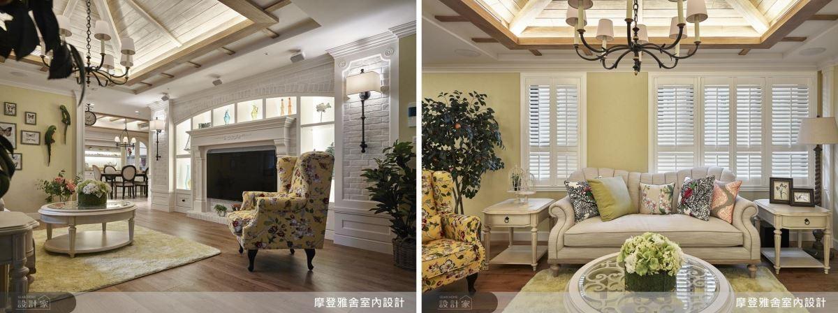 客廳以童話木屋斜屋頂、對稱壁爐搭配文化石,細緻烘托濃厚的南法鄉村風情。
