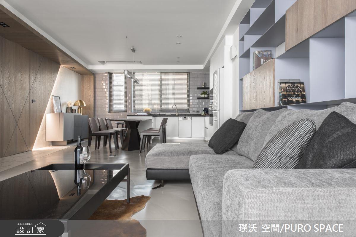 大尺度臨窗開放餐廚空間,給予屋主自在享受生活感。