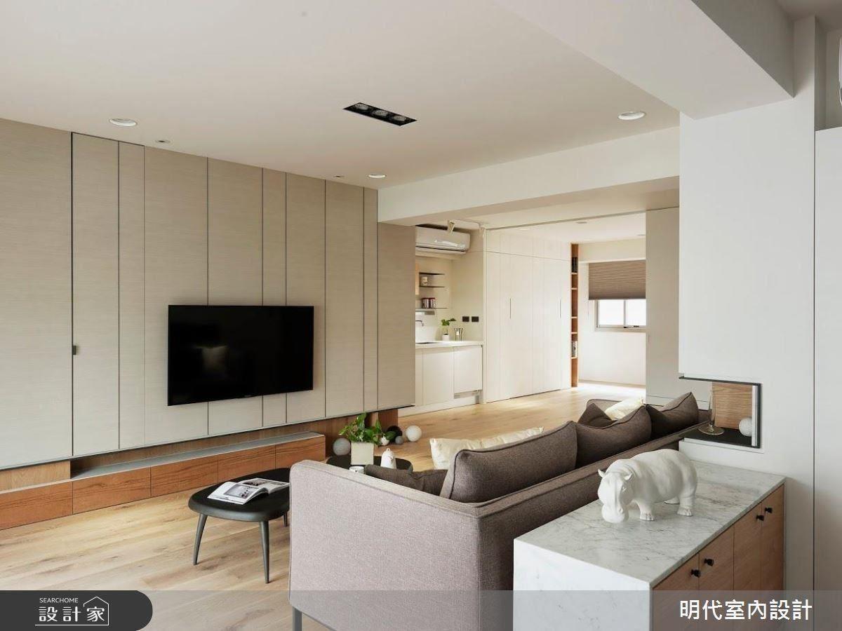 隱藏式的設計,將儲物空間規劃於電視牆的後方,充分利用空間。