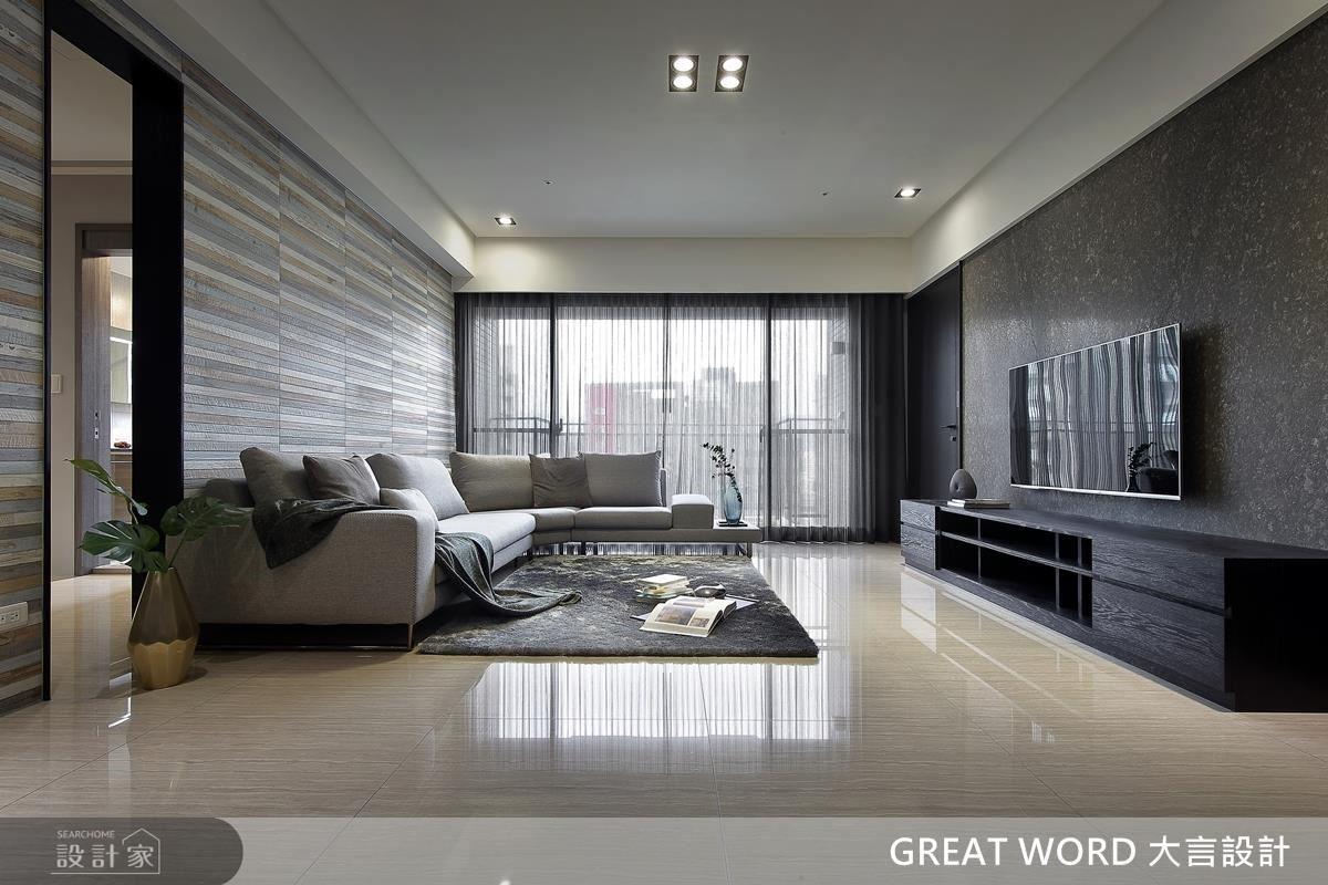 保留大面落地窗,引光入室,而電視牆與床頭背牆的色彩對比,促使空間有明顯的層次變化。