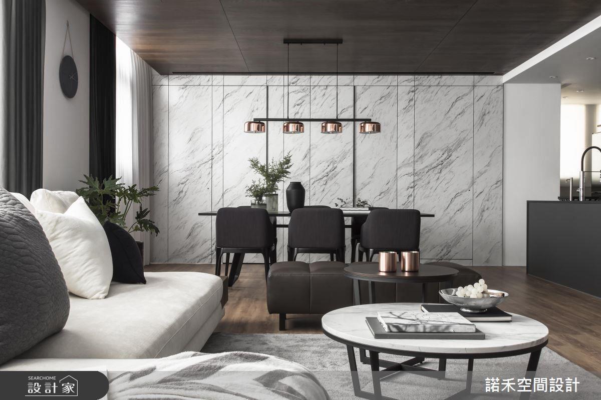 大面石材紋路牆面,引入時尚俐落感。