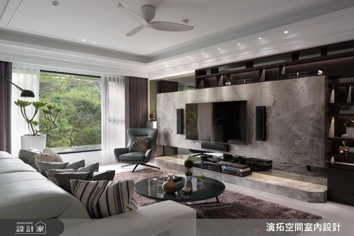 山景意象般的電視牆面,營造優雅閒適氛圍。