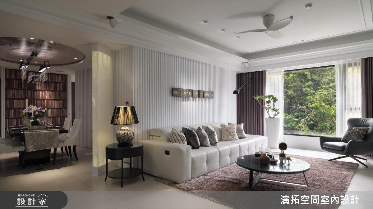 純白俐落格柵牆面,串聯空間與視覺。