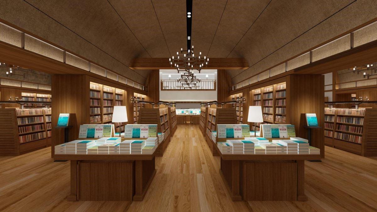 誠品生活南西書店空間因著歷史保留戲院挑高5米的特色,天花以圓弧拱頂設計,場景就像是一間間的放映廳(圖為3D店景示意圖)。