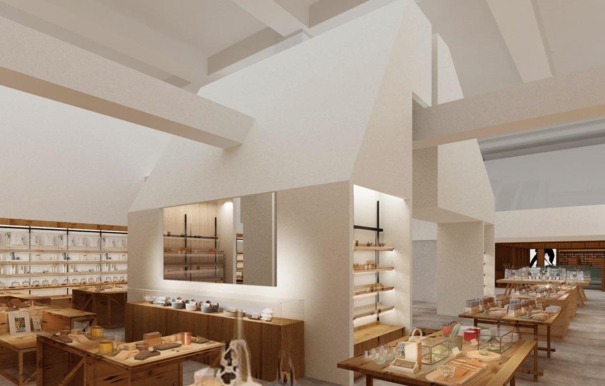 誠品生活南西全店空間設計錯落大小不一的屋型設計,象徵充滿生命力的文化聚落在此匯聚(圖為3D店景示意圖)。