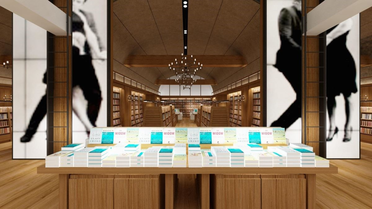 誠品生活南西書店以六面5米高的影像牆、躍動的視覺迎接讀者,串聯誠品R79成為台北市西區最大書店(圖為3D店景示意圖)。