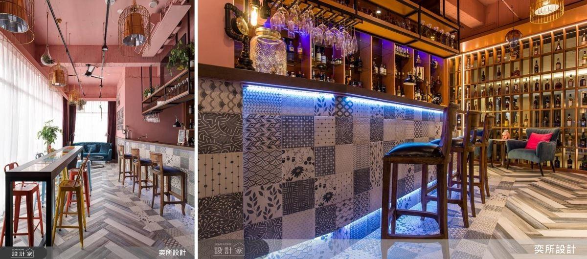 以多樣磁磚拼貼,搭配粉嫩色彩,營造迷人酒吧風情。