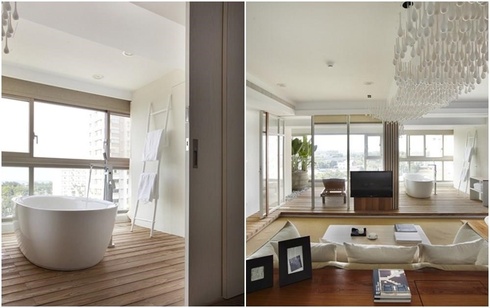 緊鄰日光及大面落地窗的設計,有效幫助空間流通,水氣散去。>>看完整圖庫