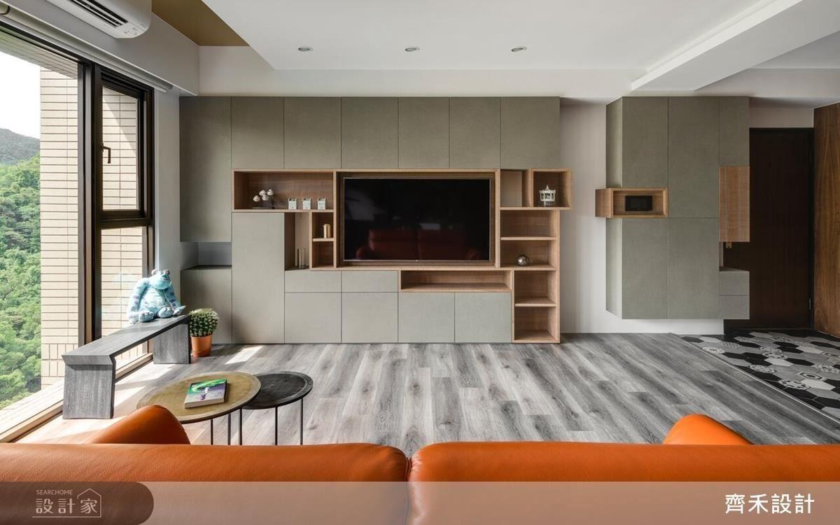 客廳的造型櫃體,滿足屋主收納機能。