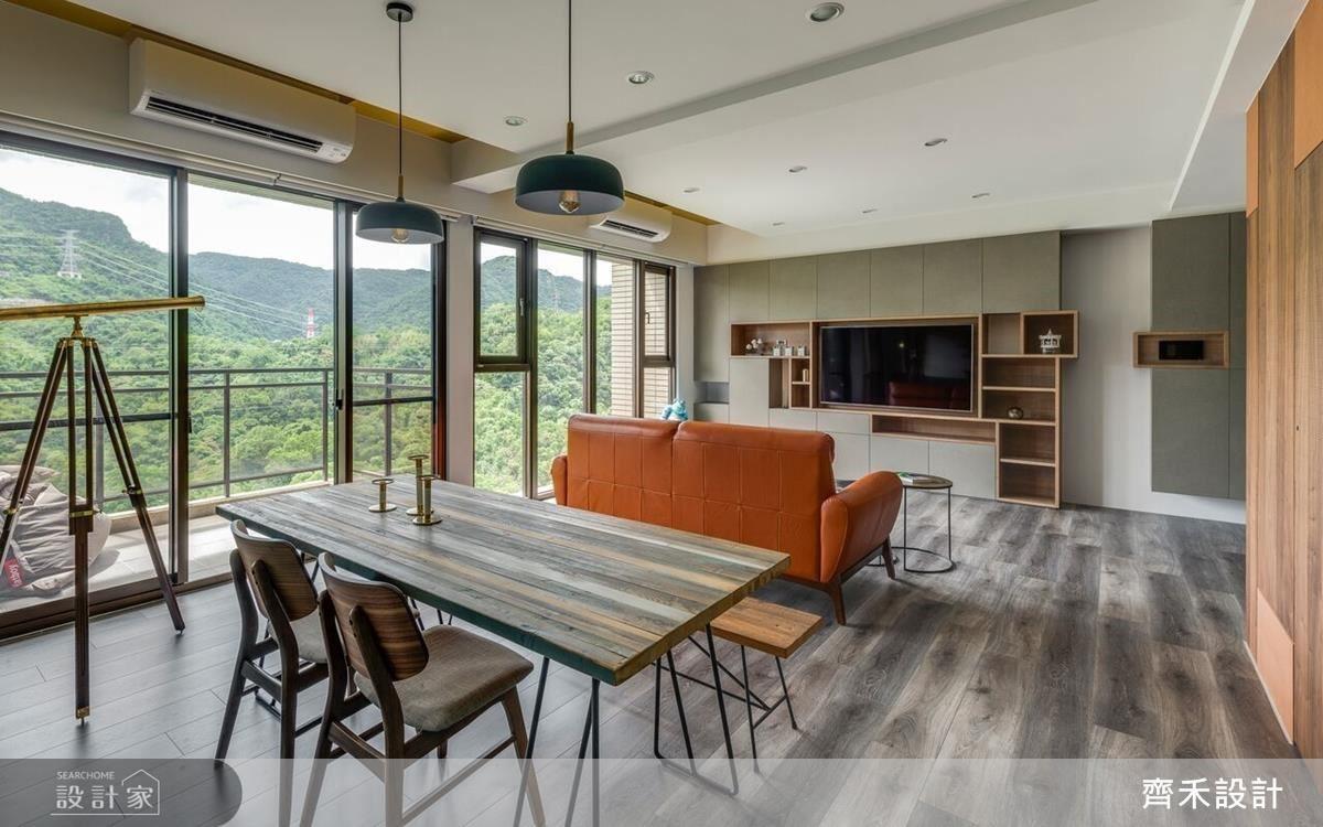 大面積落地窗景,將綠意景致延攬入室。