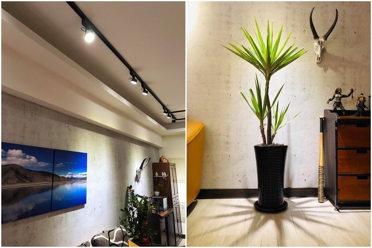 仿清水模的沙發背牆,也是他利用壁布自己 DIY 的,簡單創造出質樸的空間感。