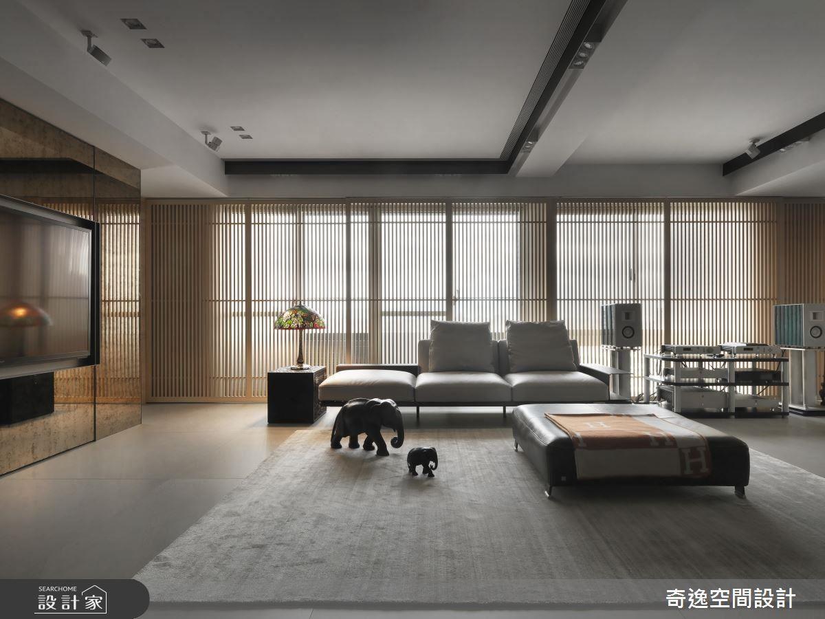 壁面格柵設計,虛化窗外建築景,並讓自然光透入,創造明亮舒適氛圍。