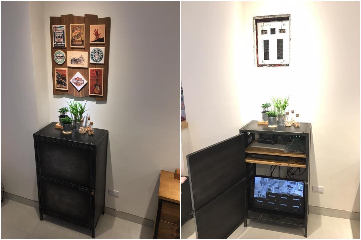 網友陳勁志採取 DIY 的方式,裝飾繁雜的線路與電箱。