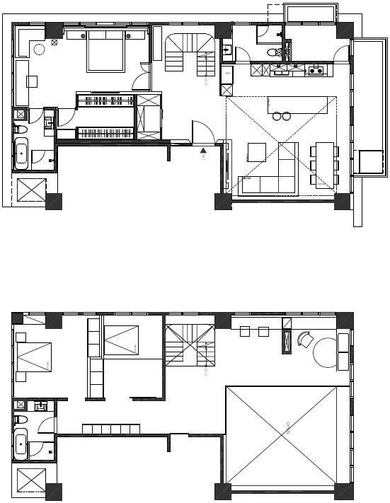 (AFTER)拆除樓下小房間後,樓梯移到正中央位置,適度留白,空間感豁然開朗。