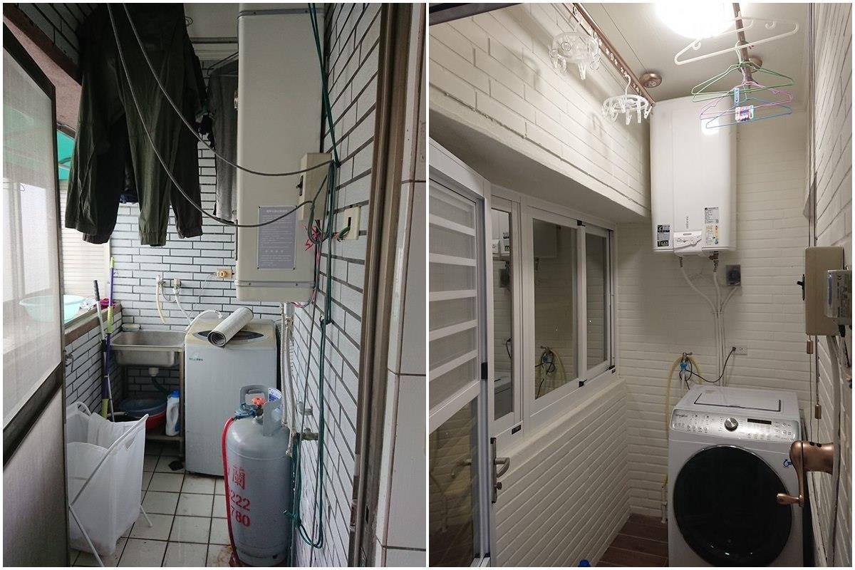 後陽台改造前(左),改造後(右)。