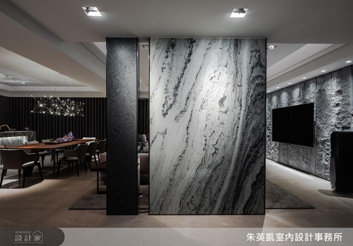 廊道選用潑墨山水石材,以樸實紋理描繪流水般自然意象。