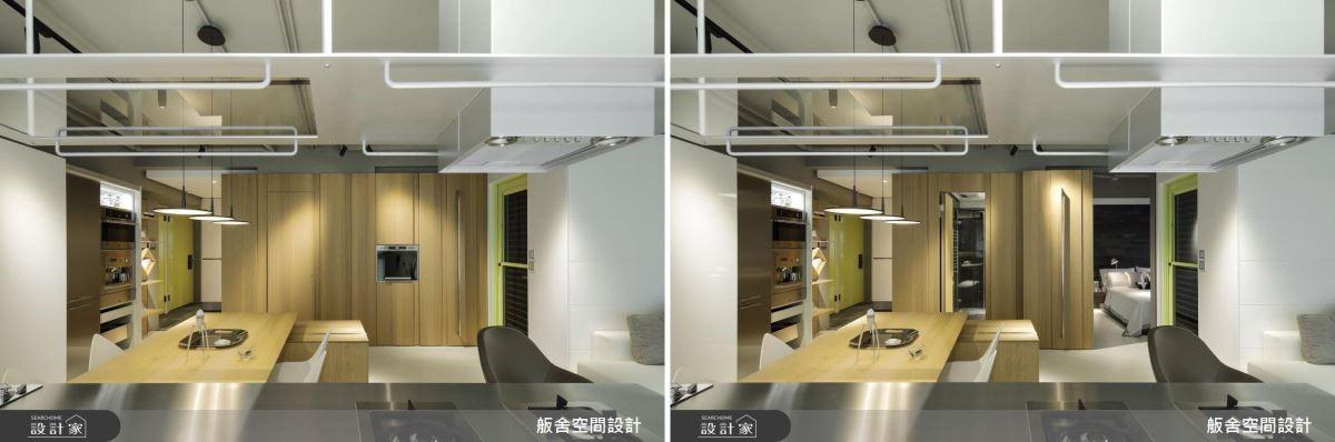 餐廳壁面隱藏衛浴與主臥入口的暗門,完整立面使視覺達到延伸空間放大的效果。