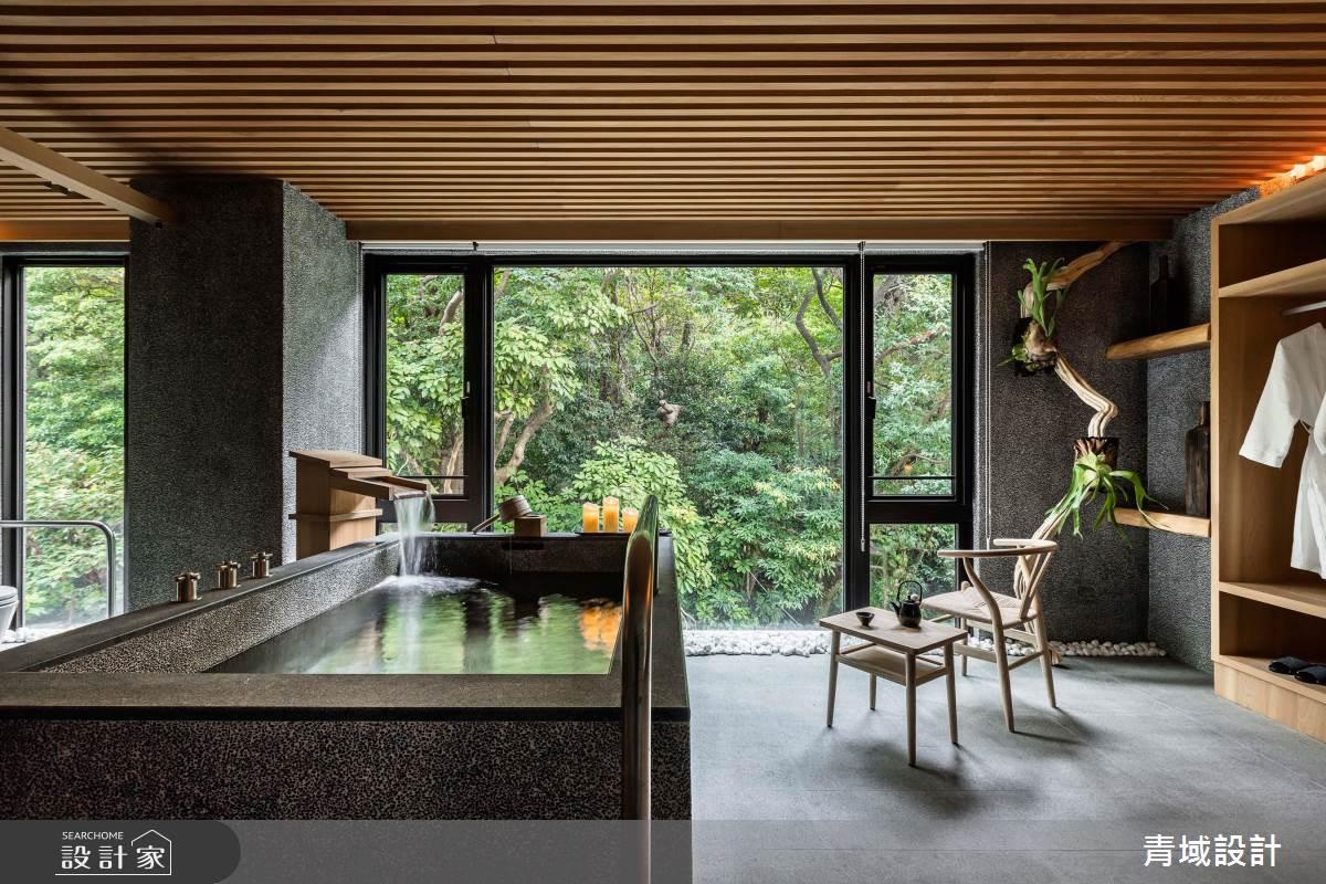 綠意瀑布入窗來!道地日系精品湯屋在台灣就能泡!