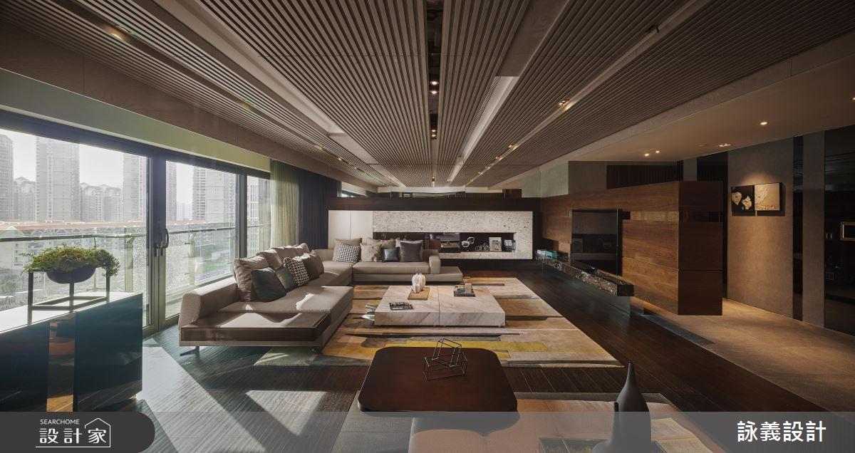 各式線條的木紋堆疊 展現隱而大器的豪宅風範