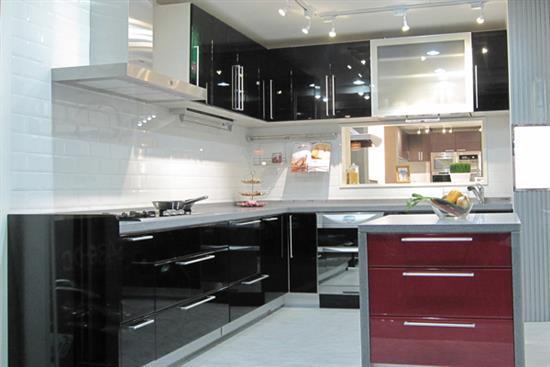 一太日本原裝鋼烤黑色L型+紅色中島廚具-廚房設備